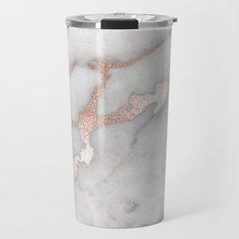 Rose Gold Marble Travel Mug