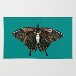 swallowtail butterfly teal Rug