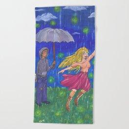 Firefly Rain Beach Towel