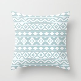 Aztec Essence Ptn III White on Duck Egg Blue Throw Pillow