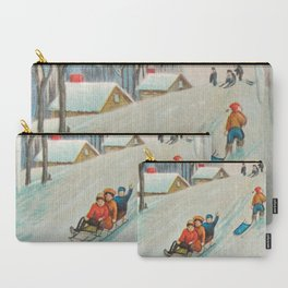Happy vintage winter sledders Carry-All Pouch