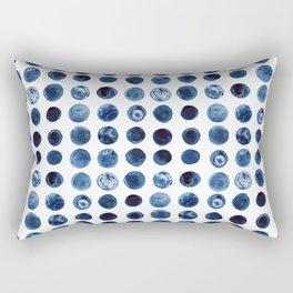Indigo Circles Watercolor Pattern Rectangular Pillow