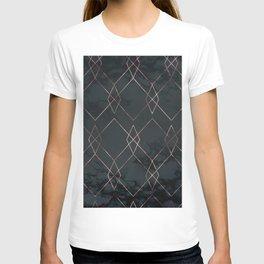 Modern Deco Rose Gold and Marble Geometric Dark T-shirt
