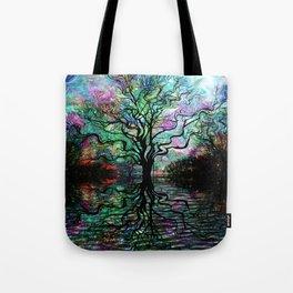 Van Goghs Aurora Borealis Reflection Tote Bag