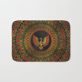 Gold and red Decorated Phoenix bird symbol Bath Mat