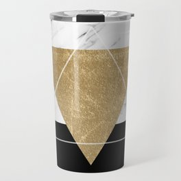 Golden marble deco geometric Travel Mug
