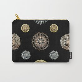 Four Different Metallic Mandalas on Black Background Textile Carry-All Pouch