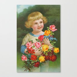 Child with roses | Kind mit Rosenstrauss Canvas Print