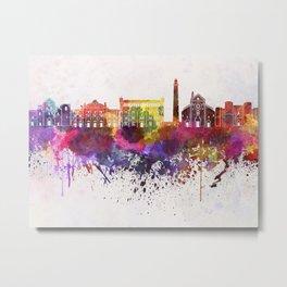 Bari skyline in watercolor background Metal Print
