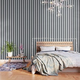 Arsenic grey - solid color - white vertical lines pattern Wallpaper