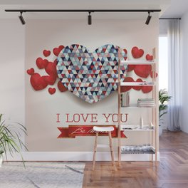 Love heart in pink Wall Mural
