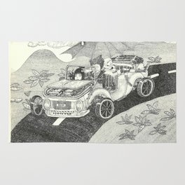 Doot car with women, character, and umbrella, driving Rug