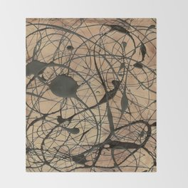 Pollock Inspired Cool Abstract Splatter Drip Painting Throw Blanket