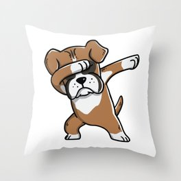 Funny Boxer Dog Dabbing Throw Pillow