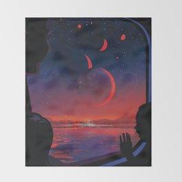 NASA Retro Space Travel Poster #13 - TRAPPIST-1e Throw Blanket