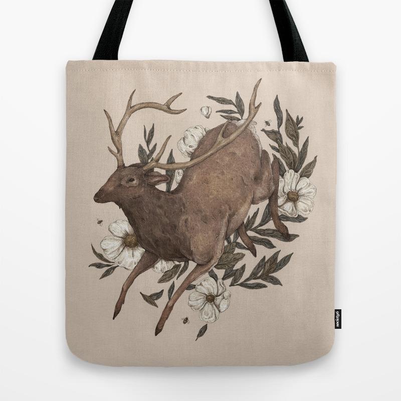 Floral Elk Tote Bag by Jessicaroux TBG4641612