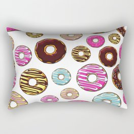 Donut Pattern, Colorful Donuts - Pink Blue Yellow Rectangular Pillow