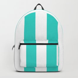 Vertical Stripes - White and Turquoise Backpack