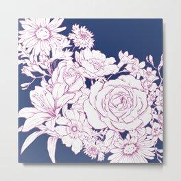 Flower Mix Sketch Metal Print
