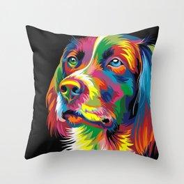 COLORFUL DOG Throw Pillow