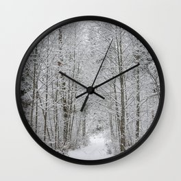 Snow Covered Trees Line The Path Wall Clock