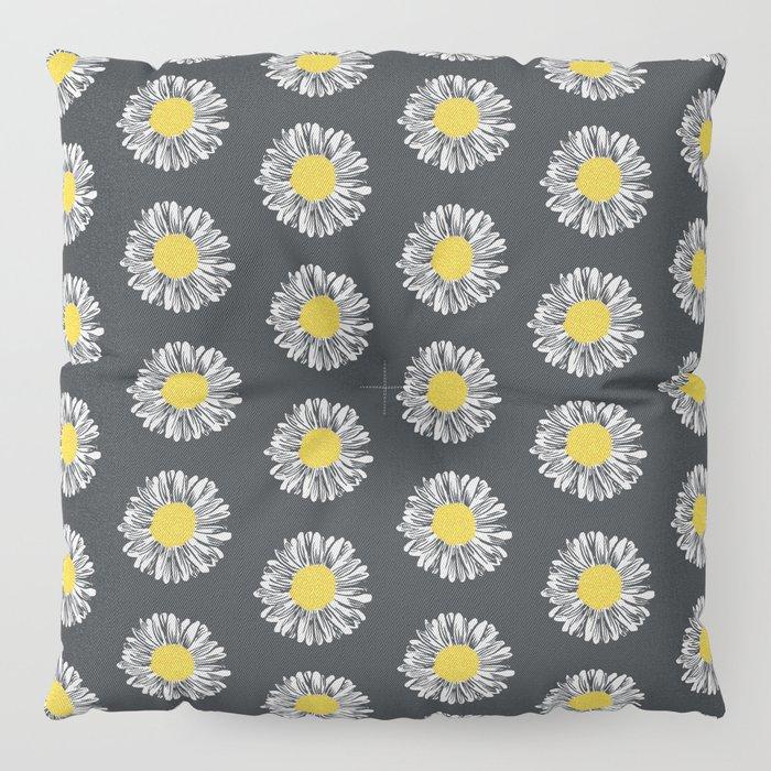 Daisy pattern basic flowers floral blossom botanical print charlotte winter dark color Floor Pillow