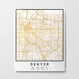 DENVER COLORADO CITY STREET MAP ART Metal Print