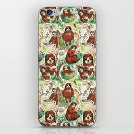 sloth in coffee pattern iPhone Skin