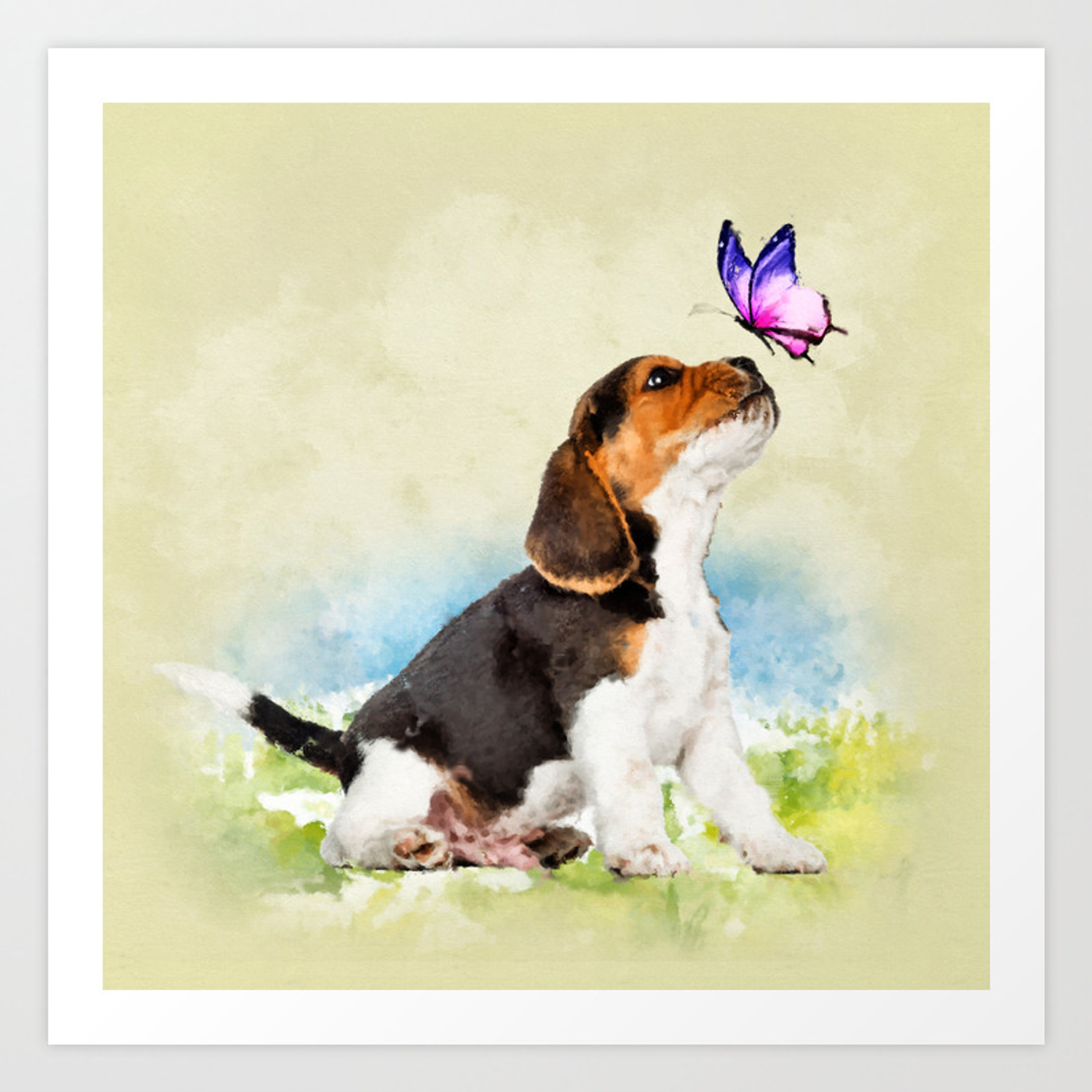 Beagle Puppy With Butterfly Art Print By K9printart Society6