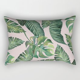 Jungle Leaves, Banana, Monstera Pink #society6 Rectangular Pillow