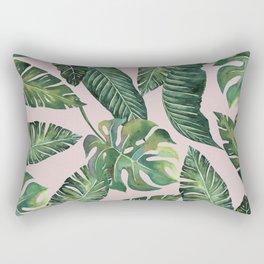 Jungle Leaves, Banana, Monstera Pink #society6 Rectangular Pillow