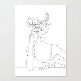 Minimal Line Art Woman with Flowers II Canvas Print