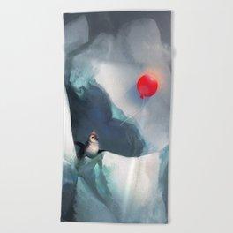 Heart Penguin Beach Towel