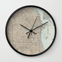 Vintage Map of Chicago (1893) Wall Clock
