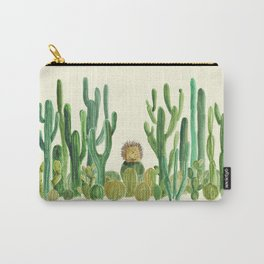 In my happy place - hedgehog meditating in cactus jungle Carry-All Pouch