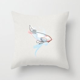 One line Koi Fish Throw Pillow