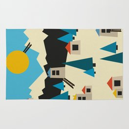 A Sunny Winter Day in the Mountain Village Rug
