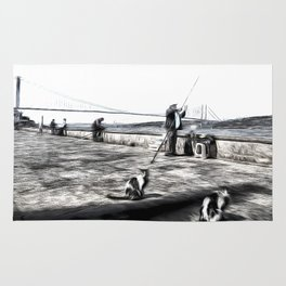 Fishermen And Cats Istanbul Rug