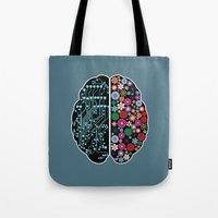 brain Tote Bags featuring Brain by BlueLela