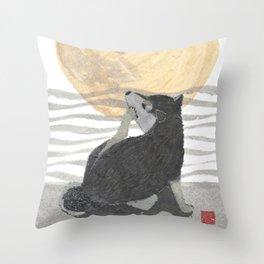 SHIBA INU, MOON, DOG Throw Pillow
