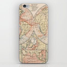 Vintage World Ocean Currents Map (1905) iPhone Skin