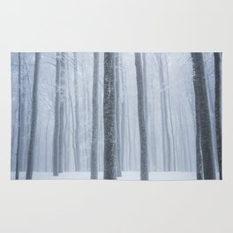 Foggy frozen winter forest Rug