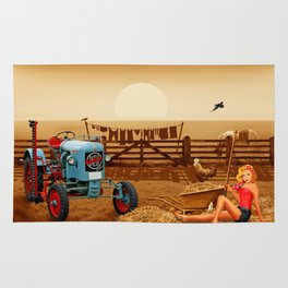 Pin Up Girl with tractor on the farm Rug