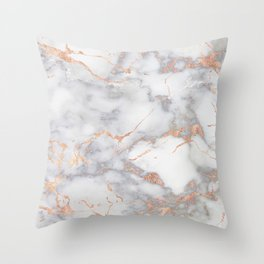 Gray Marble Rosegold  Glitter Pink Metallic Foil Style Throw Pillow