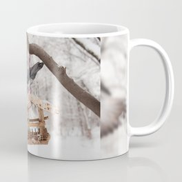 pigeons sitting on bird feeder Coffee Mug