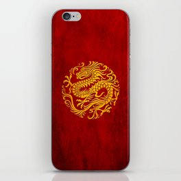 Traditional Yellow and Red Chinese Dragon Circle iPhone Skin