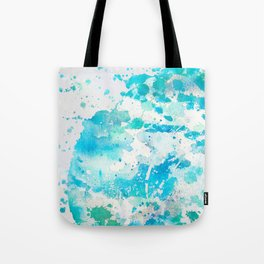 Hand painted teal turquoise ivory watercolor splatters Tote Bag