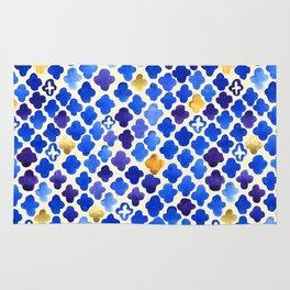 Rustic Watercolor Moroccan in Royal Blue & Gold Rug