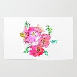 Pink Watercolor Flowers // Floral Feelings Rug