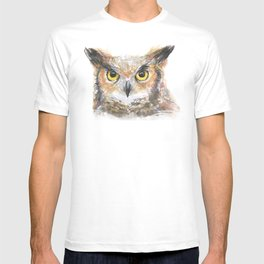 Owl Watercolor Great Horned Owl Painting T-shirt